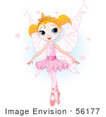 #56177 Royalty-Free (Rf) Clip Art Of A Pretty Blond Ballet Princess In A Pink Tutu And Slippers