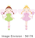 #56178 Royalty-Free (Rf) Clip Art Of A Digital Collage Of Two Fairy Princess Girls In Ballet Slippers