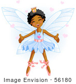 #56180 Clip Art Of A Happy Dancing African American Ballerina Fairy Princess In Blue