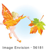 #56181 Royalty-Free (Rf) Clip Art Of A Fall Fairy Changing A Leaf To Autumn Colors