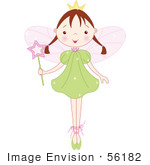 #56182 Royalty-Free (Rf) Clip Art Of A Brunette Ballet Fairy Princess Standing On Her Tippy Toes