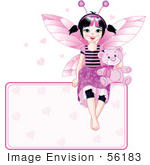 #56183 Royalty-Free (Rf) Clip Art Of A Black Haired Fairy Girl With A Teddy Bear Sitting On Top Of A Heart Sign