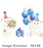 #56186 Royalty-Free (Rf) Clip Art Of A Digital Collage Of Birthday Teddy Bears With Blue Balloons Flowers And A Present