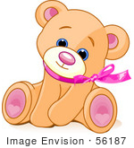 #56187 Clip Art Of An Adorable Brown Teddy Bear Wearing A Pink Ribbon, Tilting Its Head And Sitting by pushkin