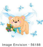 #56188 Royalty-Free (Rf) Clip Art Of A Teddy Bear Fairy Flying With Flowers And Blue Butterflies