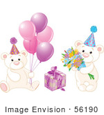#56190 Royalty-Free (Rf) Clip Art Of A Digital Collage Of Birthday Teddy Bears With Pink Balloons Flowers And A Present by pushkin