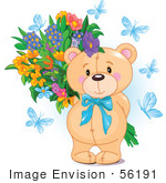 #56191 Royalty-Free (RF) Clip Art Of A Teddy Bear With Blue Butterflies And A Flower Bouquet by pushkin