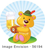 #56194 Royalty-Free (Rf) Clip Art Of An Oktoberfest Teddy Bear Eating A Pretzel And Drinking Beer by pushkin