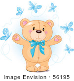 #56195 Royalty-Free (Rf) Clip Art Of A Sweet Teddy Bear With A Blue Bow And Blue Butterflies by pushkin