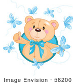 #56200 Royalty-Free (Rf) Clip Art Of A Happy Bear Surrounded By Blue Butterflies