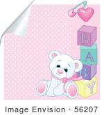#56207 Royalty-Free (Rf) Clip Art Of A White Teddy Bear Leaning Against Baby Blocks On A Peeling Pink Background by pushkin