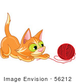 #56212 Clip Art Illustration Of A Frisky Orange Kitten Playing With A Ball Of Red Yarn
