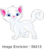 #56213 Clip Art Illustration Of An Adorable Blue Eyed White Kitten Looking At The Viewer