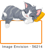 #56214 Clip Art Illustration Of An Adorable Gray Kitten Napping On A Pillow Over A Blank Text Box
