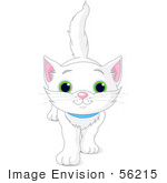 #56215 Clip Art Illustration Of A Cute And Curious White Kitten Walking Forward