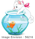 #56216 Royalty-Free (Rf) Clip Art Illustration Of A White Kitten Hanging On And Reaching Into A Goldfish Bowl