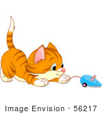 #56217 Clip Art Illustration Of A Playful Orange Kitten Playing With A Blue Mouse Toy