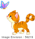 #56219 Clip Art Illustration Of An Adorable Orange Kitten Watching A Butterfly