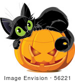 #56221 Royalty-Free (Rf) Clip Art Illustration Of A Cute Black Kitten Curled Up On Top Of A Halloween Pumpkin