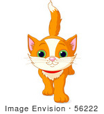 #56222 Clip Art Illustration Of A Cute And Curious Orange Kitten Walking Forward