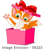 #56223 Clip Art Illustration Of An Adorable Orange Kitten Popping Out Of A Pink Gift Box And Waving