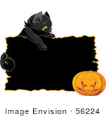 #56224 Royalty-Free (Rf) Clip Art Illustration Of A Black Kitten Looking Over A Black Sign At A Halloween Pumpkin