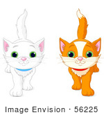 #56225 Clip Art Illustration Of White And Orange Kittens Walking Forward