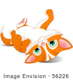 #56226 Clip Art Illustration Of A Cute Orange Kitten Laying On Its Back And Looking At The Viewer