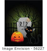 #56227 Royalty-Free (Rf) Clip Art Illustration Of A Black Kitten And A Pumpkin By A Tombstone