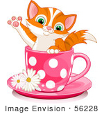 #56228 Clip Art Illustration Of An Adorable Orange Kitten In A Pink Polka Dotted Tea Cup