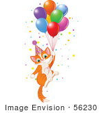 #56230 Royalty-Free (Rf) Clip Art Illustration Of An Orange Birthday Kitten Floating Away With Balloons And Confetti