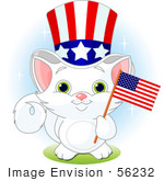 #56232 Clip Art Illustration Of An Adorable White Independent Kitten Wearing An Uncle Sam Hat And Holding An American Flag