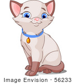 #56233 Clip Art Illustration Of A Cute Siamese Kitten With Blue Eyes Wearing A Collar