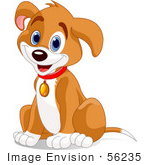 #56235 Royalty-Free (RF) Clip Art Of A Hyper Puppy Dog Sitting And Wearing A Collar by pushkin
