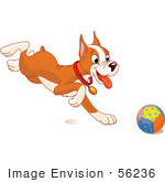 #56236 Royalty-Free (Rf) Clip Art Of A Cute Boxer Puppy Running After A Ball
