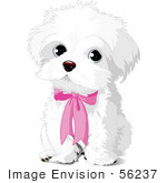 #56237 Royalty-Free (RF) Clip Art Of A Cute White Puppy Dog Wearing A Pink Bow by pushkin