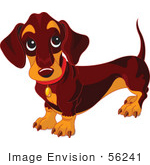 #56241 Royalty-Free (Rf) Clip Art Of A Dark Weiner Dog Standing And Looking Up