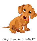 #56242 Royalty-Free (Rf) Clip Art Of A Beige Weiner Dog Puppy Sitting