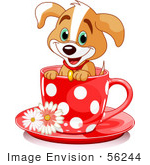 #56244 Clipart Illustration Of An Adorable Puppy Dog In A Red Polka Dotted Tea Cup