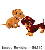 #56245 Royalty-Free (Rf) Clip Art Of Two Dachshund Puppies