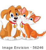 #56246 Clipart Illustration Of A Happy Brown Puppy And Orange Kitten Resting Their Cheeks Together