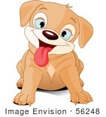 #56248 Royalty-Free (Rf) Clip Art Of A Cute Beige Puppy Dog Hanging Her Tongue Out