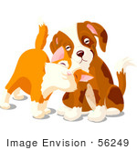 #56249 Clipart Illustration Of A Cute Orange Kitten Rubbing Against A Sad Puppy