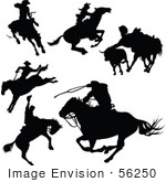#56250 Royalty-Free (Rf) Clip Art Of A Digital Collage Of Black Cowboy Silhouettes - Version 1