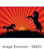 #56251 Royalty-Free (Rf) Clip Art Of A Red Sunset Beaming Behind Silhouetted Horses On A Hill