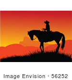 #56252 Royalty-Free (Rf) Clip Art Of A Silhouetted Cowboy On Horseback Against An Orange Sunset