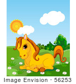 #56253 Clip Art Of An Adorable Yellow Pony Resting In A Daisy Flower Patch In A Green Pasture On A Sunny Day