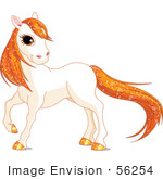 #56254 Royalty-Free (Rf) Clip Art Of A Cute White Horse With Golden Hooves And Orange Sparkly Hair