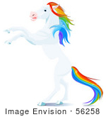 #56258 Clip Art Of A White Horse With A Rainbow Colored Mane And Tail Rearing Up On Its Hind Legs