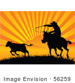#56259 Royalty-Free (Rf) Clip Art Of A Silhouetted Cowboy Roping A Calf At Sunset